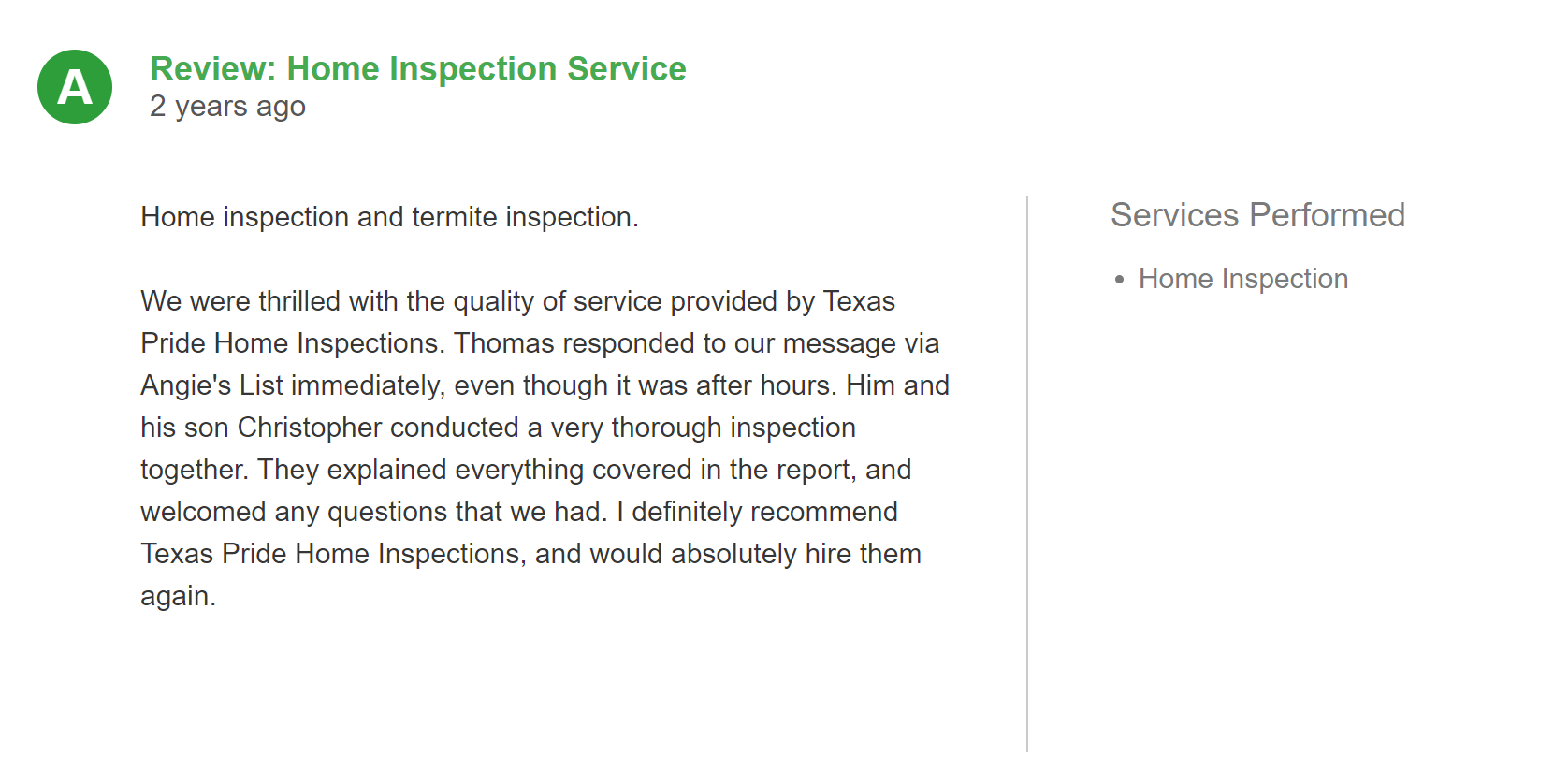 written review of Texas Pride Home Inspection